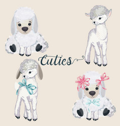 Collection pretty lamb for easter design vector