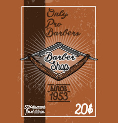 color vintage barber shop banner vector image