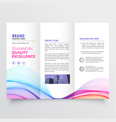 Colorful wavy trifold business brochure design vector