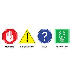 common colorful attention and guide signs icon set vector image