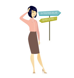 Confused woman choosing career pathway vector