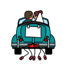 Couple just married car vector