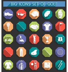 creative icons on golf in flat style vector image