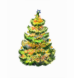 Crismas fir-tree isolated on white bright vector