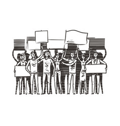 crowd of people with placards on demonstration vector image