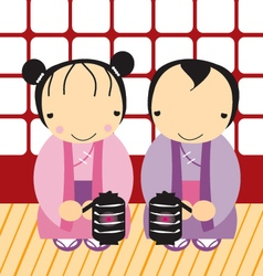 cute couple japanese vector image