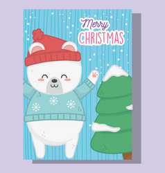 cute polar bear and tree with snow merry christmas vector image