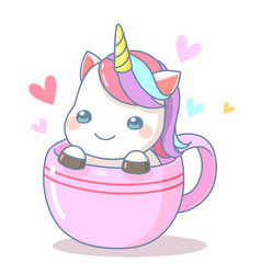 cute unicorn in coffee cup vector image