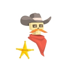Dead Sheriff Head And Star Pin Drawing Isolated On vector
