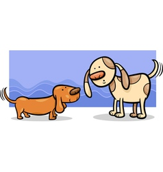 dogs wagging tails cartoon vector image
