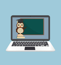 e-learning laptop concept with owl on book stack vector image