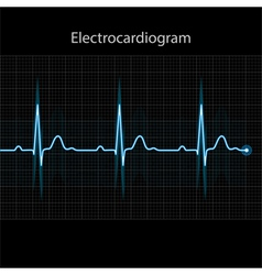 Electrocardiogram - ecg on black background vector