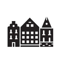 europe street logotype with danish houses vector image
