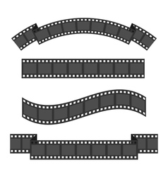 Film strip frame four set Different shape ribbon vector image