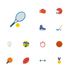 Flat icons reward boxing basket and other vector