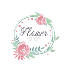 flower shop colorful logo label in vintage style vector image