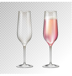 full and empty champagne glass isolated vector image