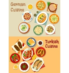 German and turkish cuisine icon for menu design vector image