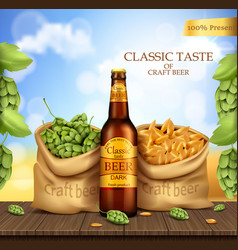 Glass brown bottle with craft beer vector