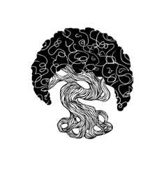 graphics bonsai tree curve trunk big crown vector image