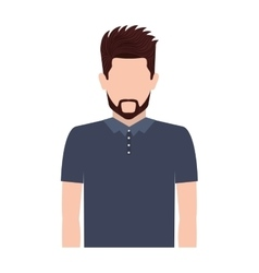 Half body silhouette man with beard vector