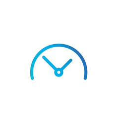 half clock linear icon isolated on white vector image
