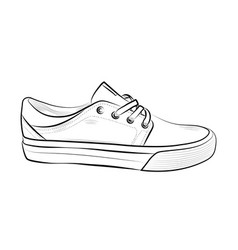 Hand drawn sketch of sport shoes sneakers for vector