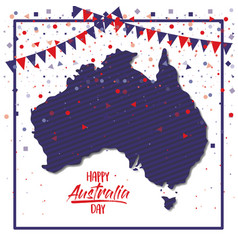 happy australia day poster with dark blue frame vector image