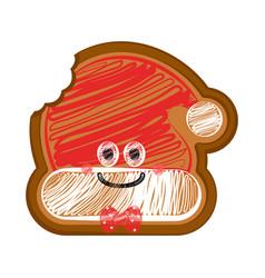 Happy bitten christmas hat gingerbread vector