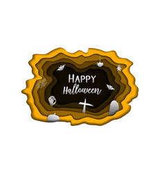 happy halloween day paper carve background cute vector image
