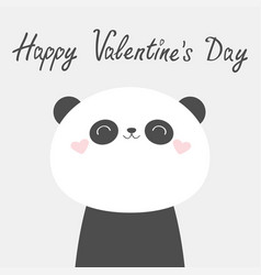 happy valentines day panda bear face head icon vector image
