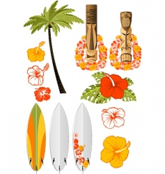 Hawaiian icons vector