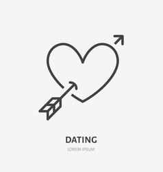 Heart with arrow flat line icon thin sign vector