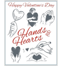 Hends and hearts - Valentines Day set vector image
