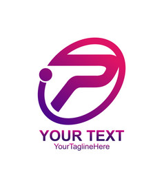 Initial letter p logo template colored purple vector