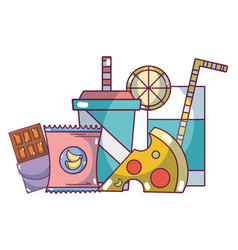 junk food grocery products cartoon vector image