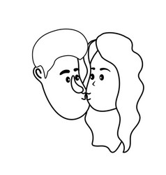 Line avatar couple face kissing with hairstyle vector