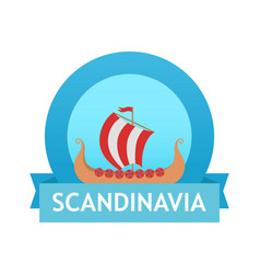 logo with scandinavian drakkar vector image