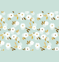 Luxury gold and pastel flowers seamless pattern vector