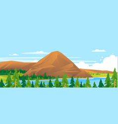 mountain in forest landscape background vector image