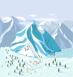 Mountain landscape with a ski hill vector