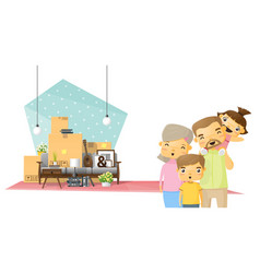 moving home concept background with happy family vector image