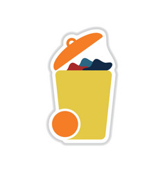Paper sticker on white background trash can vector