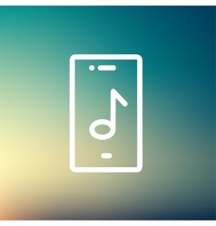 Phone with musical note thin line icon vector image