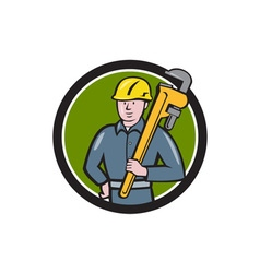 Plumber Holding Wrench Circle Cartoon vector image