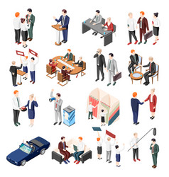 Politicians isometric icons vector