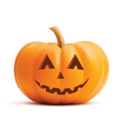 pumpkin smiling face on white background pumpkin vector image