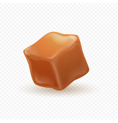 Realistic caramel 3d milk toffee cube isolated vector