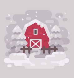 red barn building with fir trees in a snowy vector image