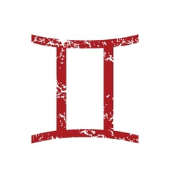 Red grunge Gemini logo vector image